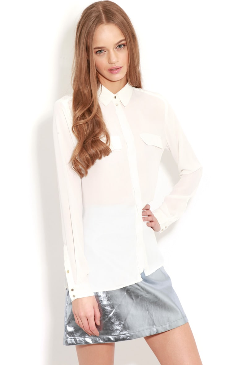 Eboni White Chiffon Shirt 1