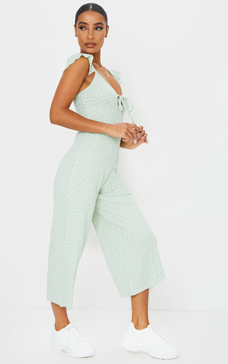 Sage Green Polka Dot Frill Shoulder Culotte Jumpsuit 3