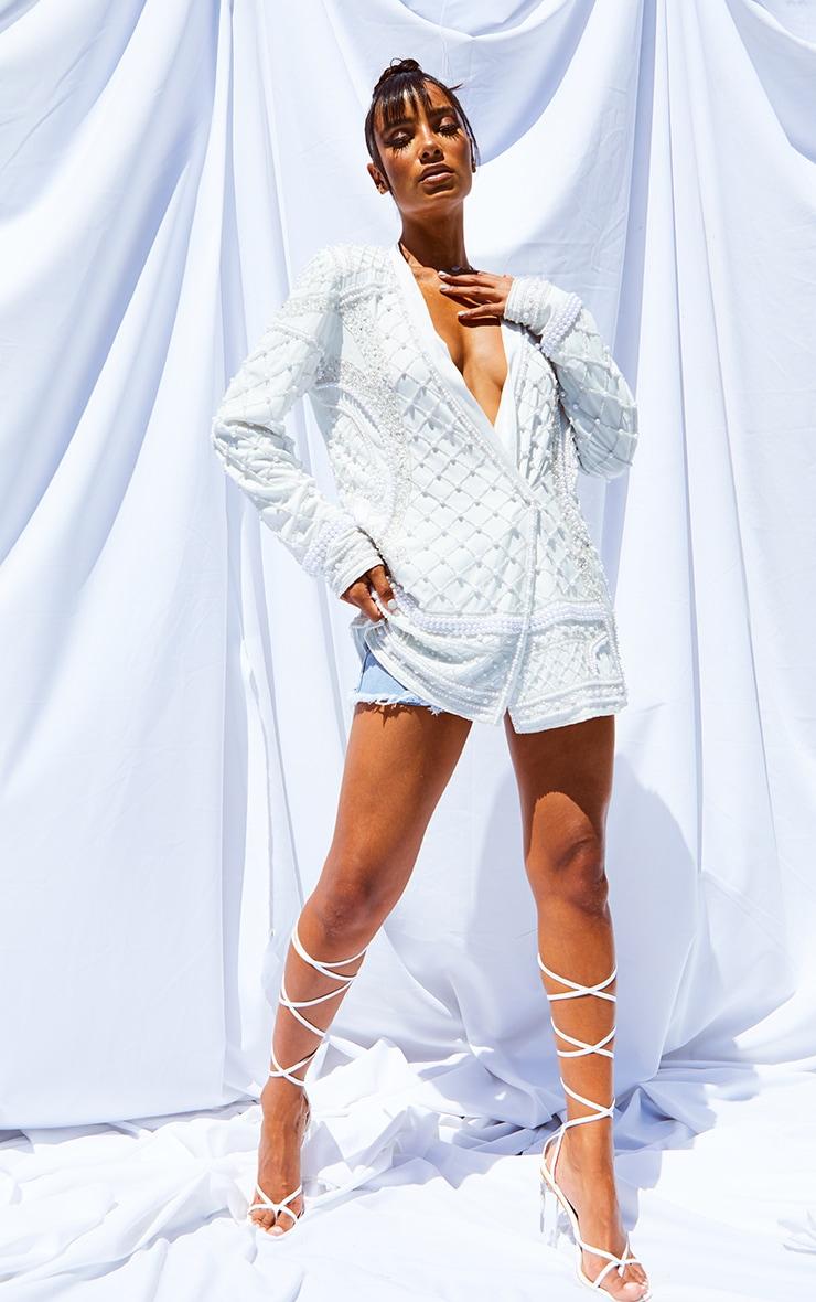 White Premium Embellished Beaded Oversized Blazer 3