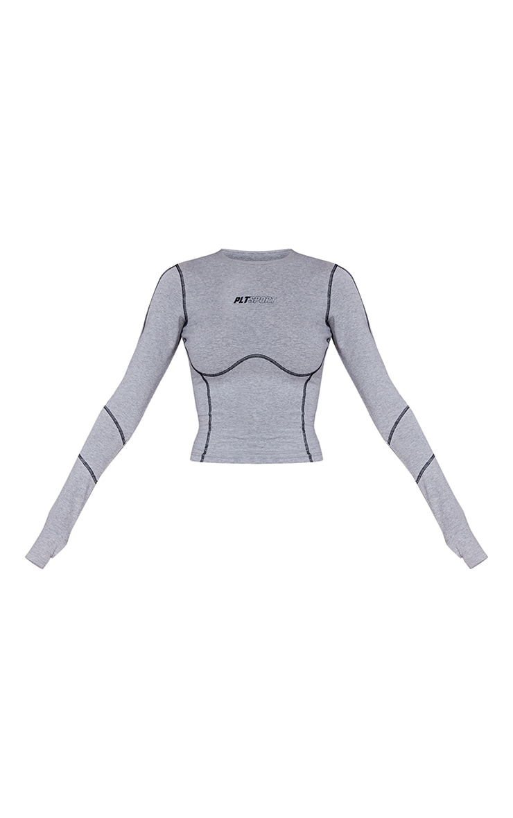 PRETTYLITTLETHING - Top de sport en coton gris chiné deluxe à détail coutures et manches longues 5