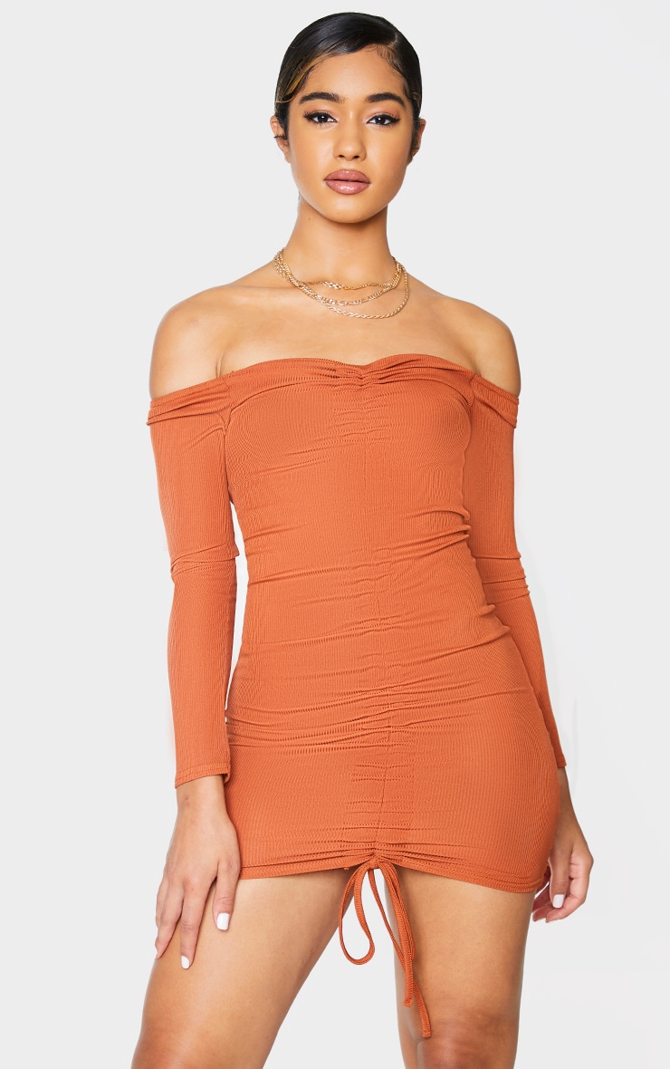 Rust Ribbed Long Sleeve Bardot Ruched Bodycon Dress 1