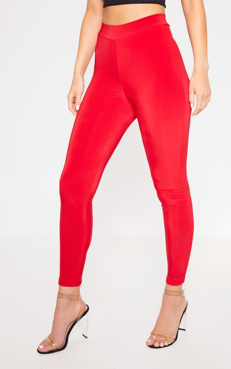 Deep Red Ruched Bum Detail Legging 2