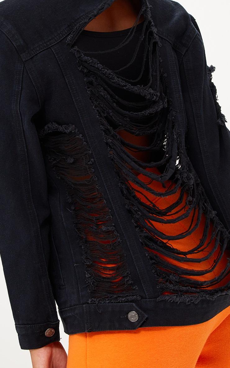 Petite Black Frayed Back Denim Jacket 5