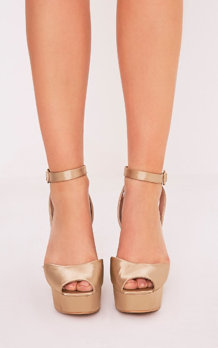 Dianne Champagne Satin Platform Heels 2