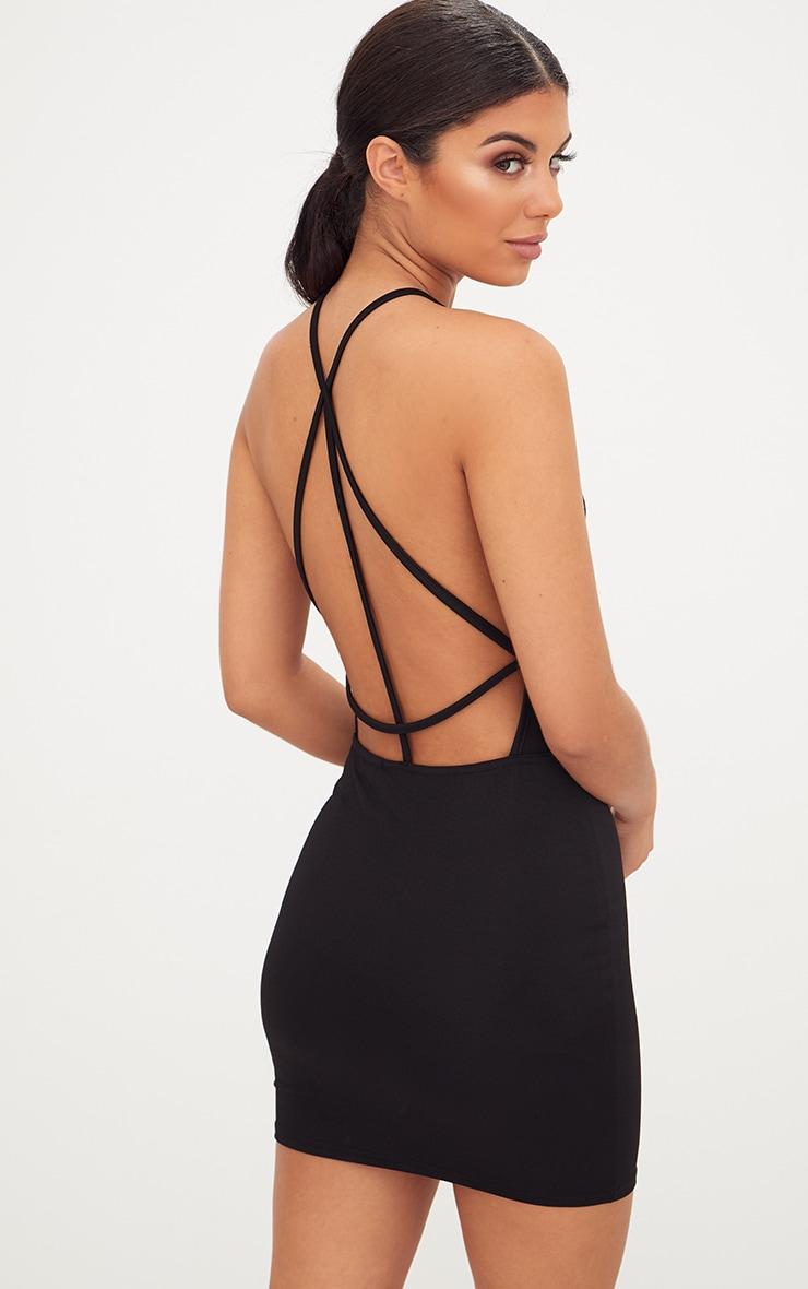 Black High Straight Neck Strappy Back Bodycon Dress 2
