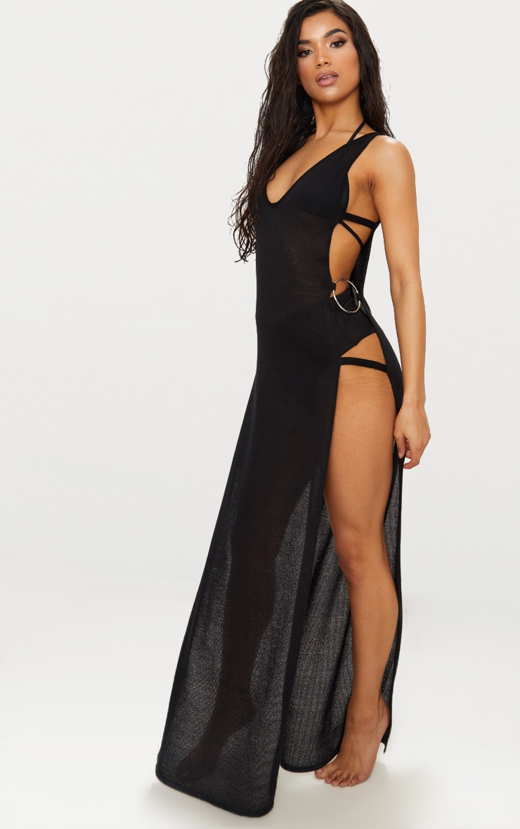 Black Open Side Ring Detailed Beach Maxi 1