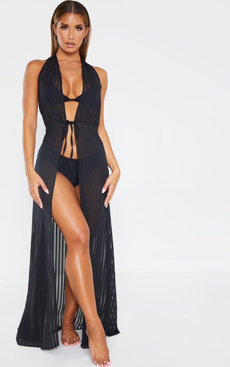 Black Sheer Stripe Halterneck Maxi Beach Dress 1