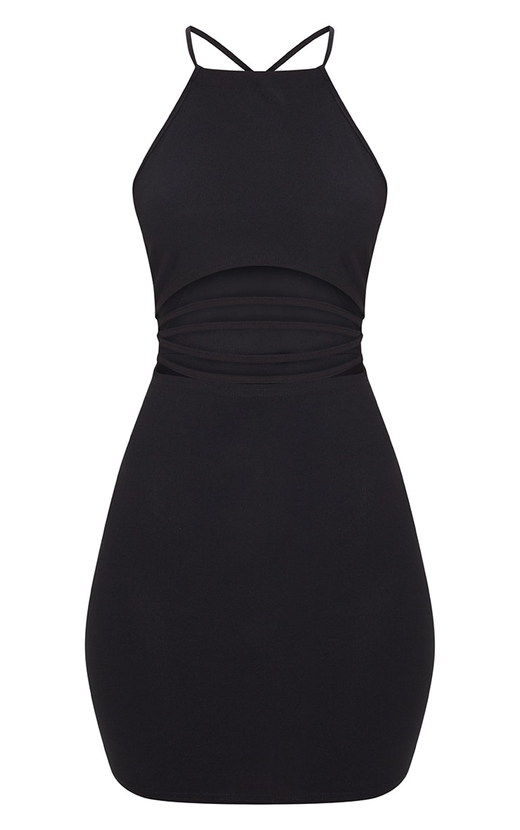 Black Cross Back High Neck Strappy Detail Bodycon Dress  3