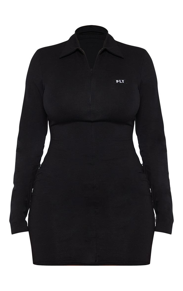 PRETTYLITTLETHING Shape Black Cotton Collar Bodycon Dress 5