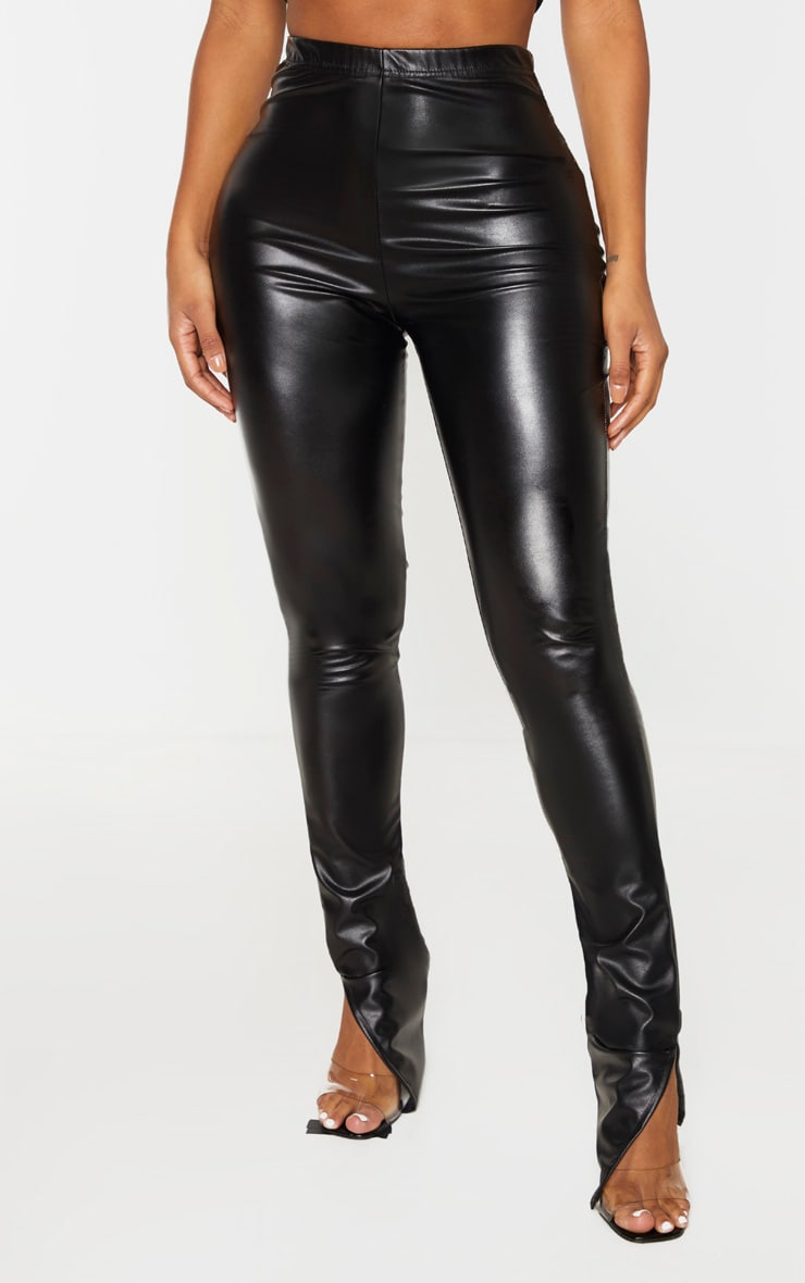 Shape Black PU Split Hem Trouser image 2
