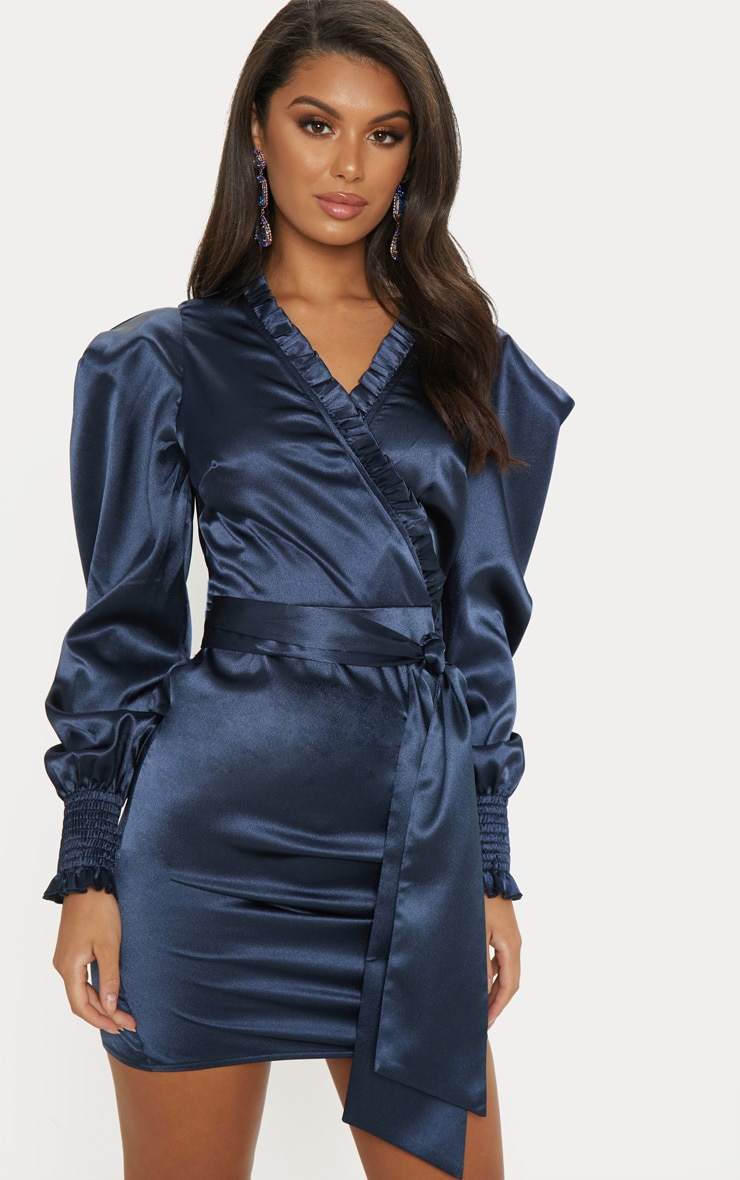Blue Satin Frill Detail Ruched Bodycon Dress 4