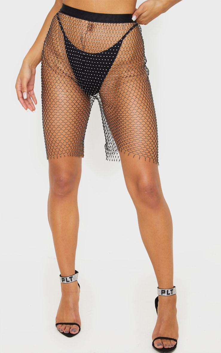 Black Mesh Diamante Cycle Short 2