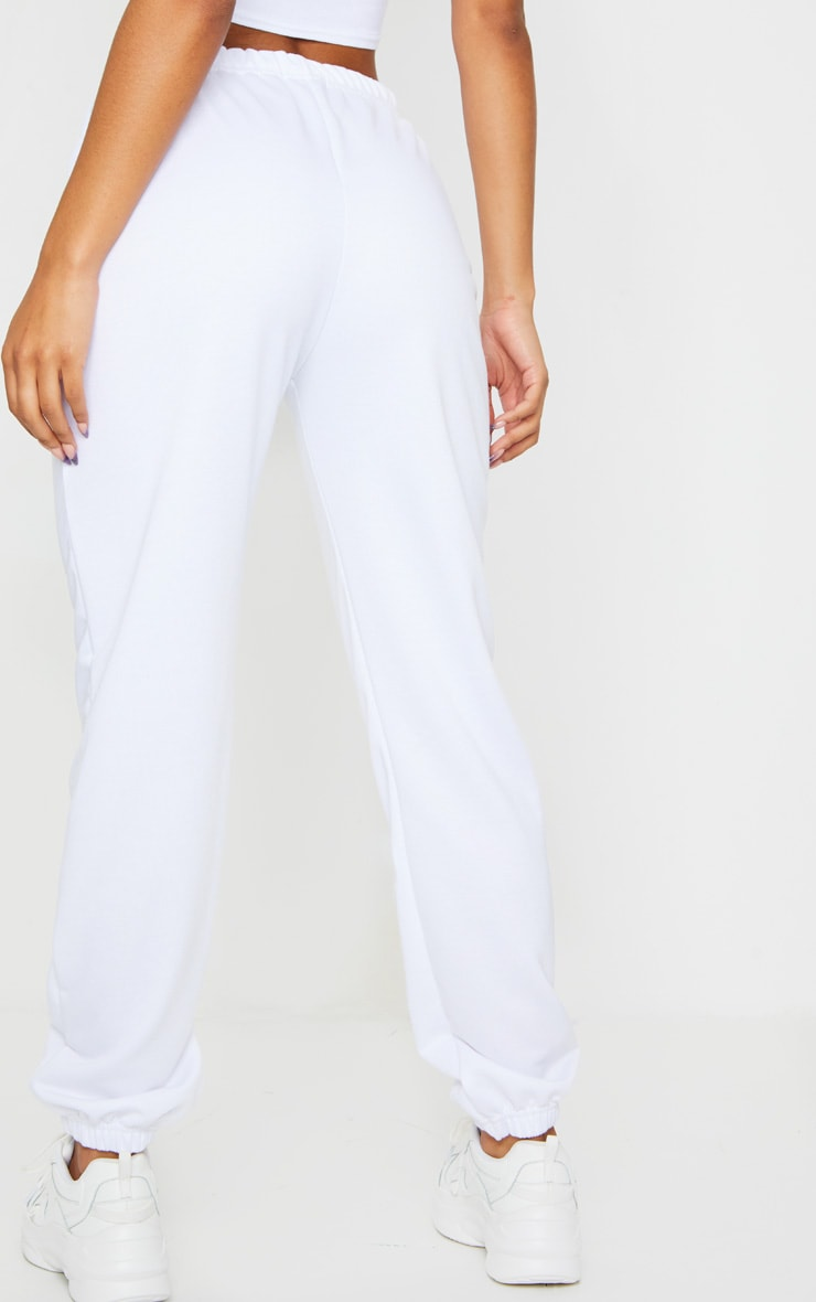White Basic Cuffed Hem Jogger 3