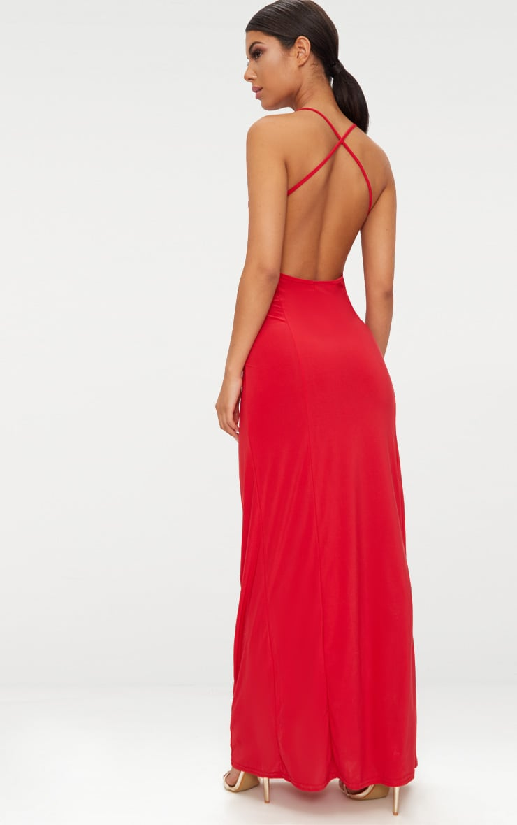 Red Slinky Backless Strappy Plunge Maxi Dress 1