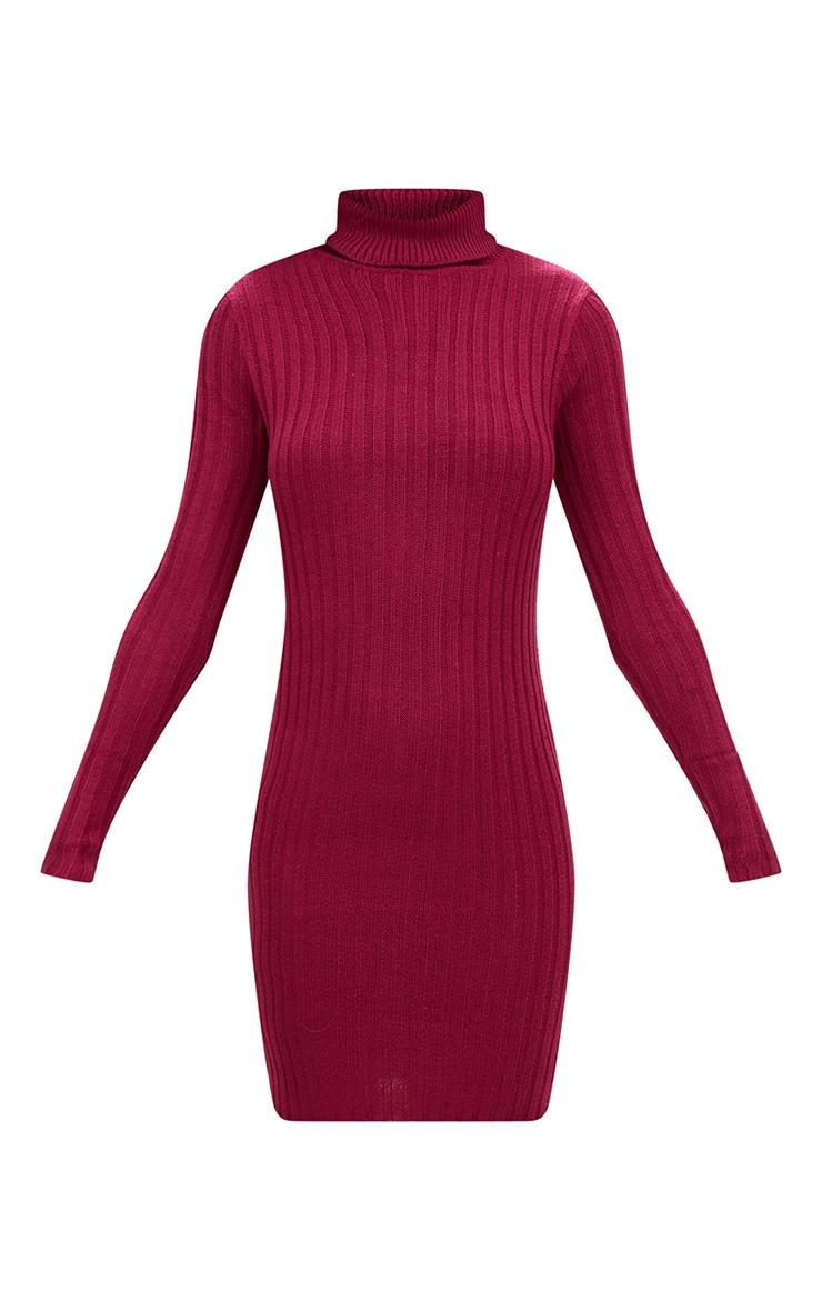 Burgundy Rib Roll Neck Dress 3