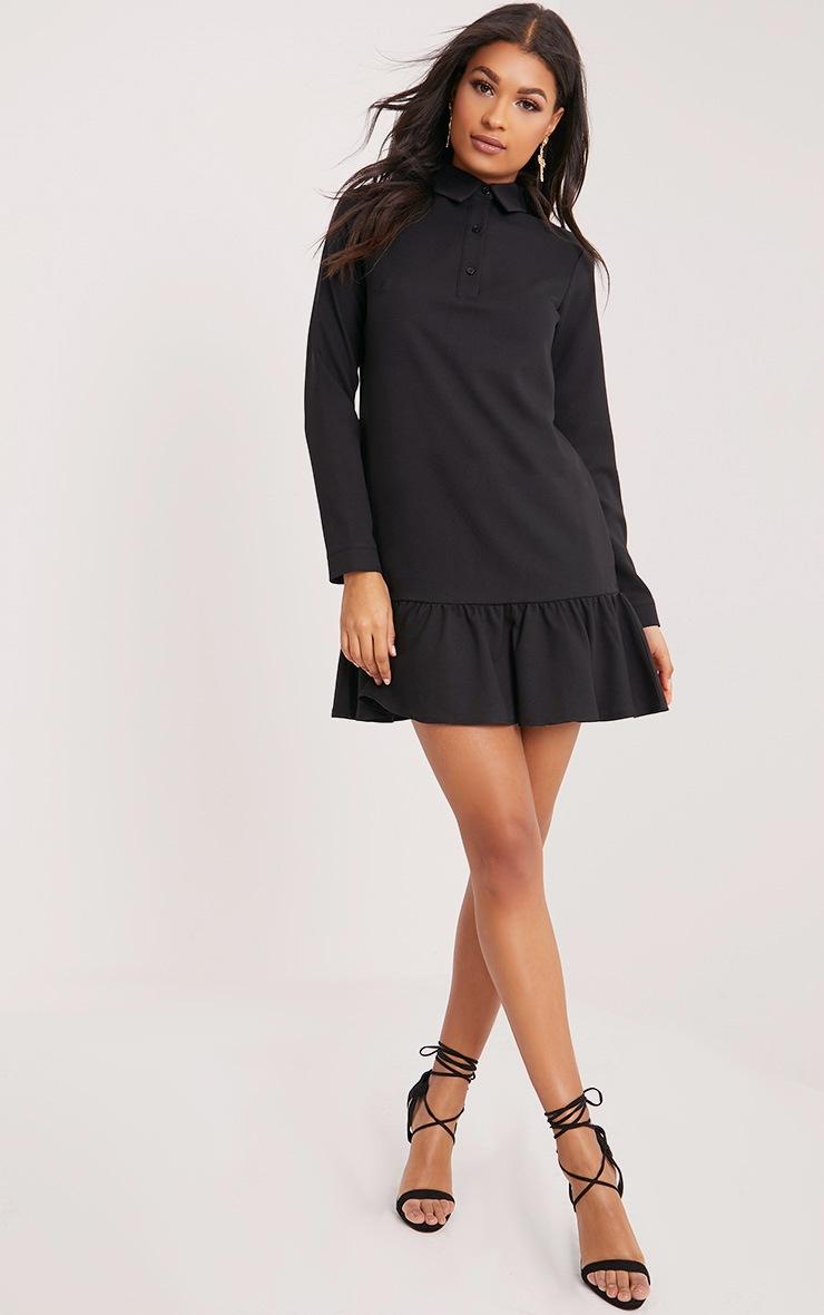 Kiera Black Frill Hem Shirt Dress 4
