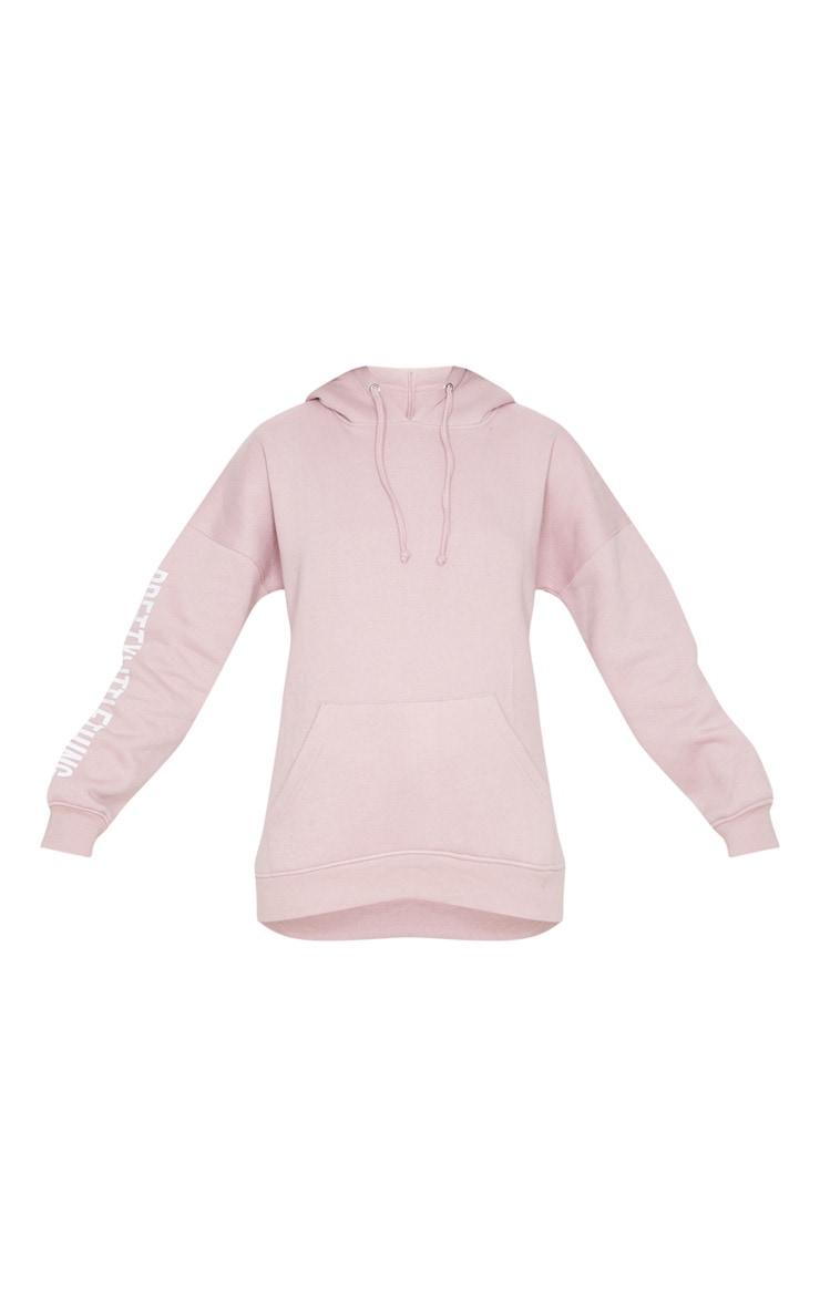 PRETTYLITTLETHING Pale Pink Slogan Hoodie 3