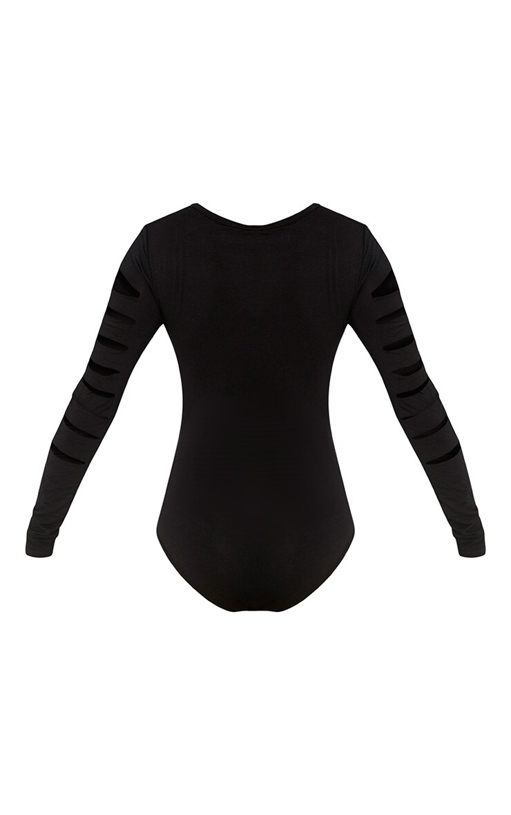 Keri Black Ripped Sleeve Jersey Bodysuit 4