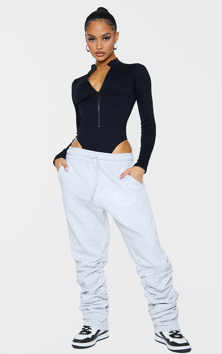 Black Contour Rib Zip Up Long Sleeve Bodysuit 3