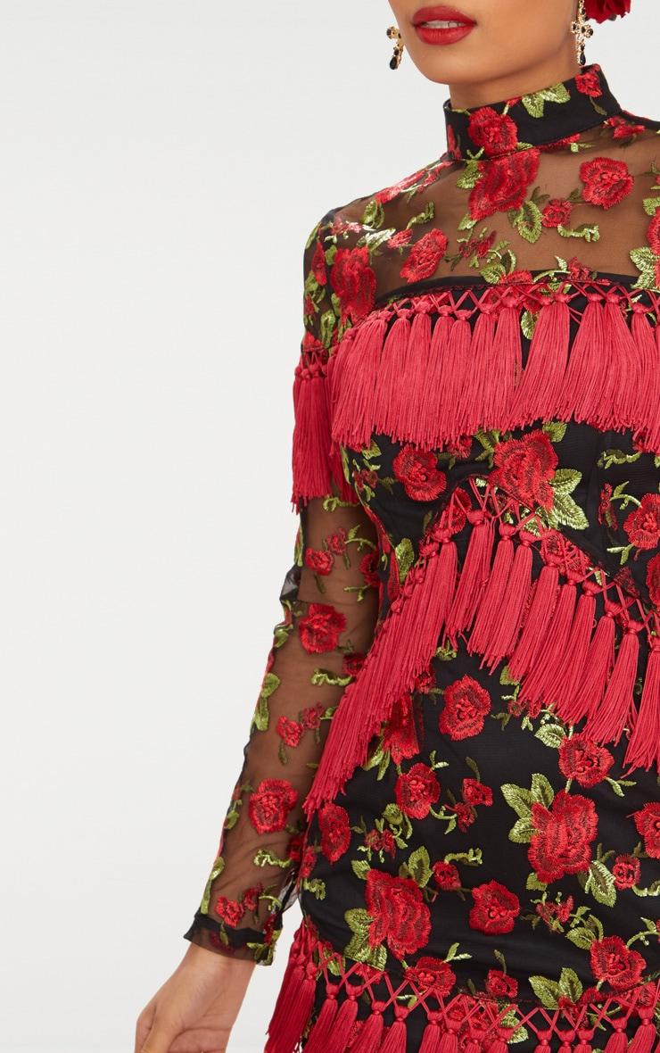 Black Floral Embroidered Tassel Trim Long Sleeve Bodycon Dress 6