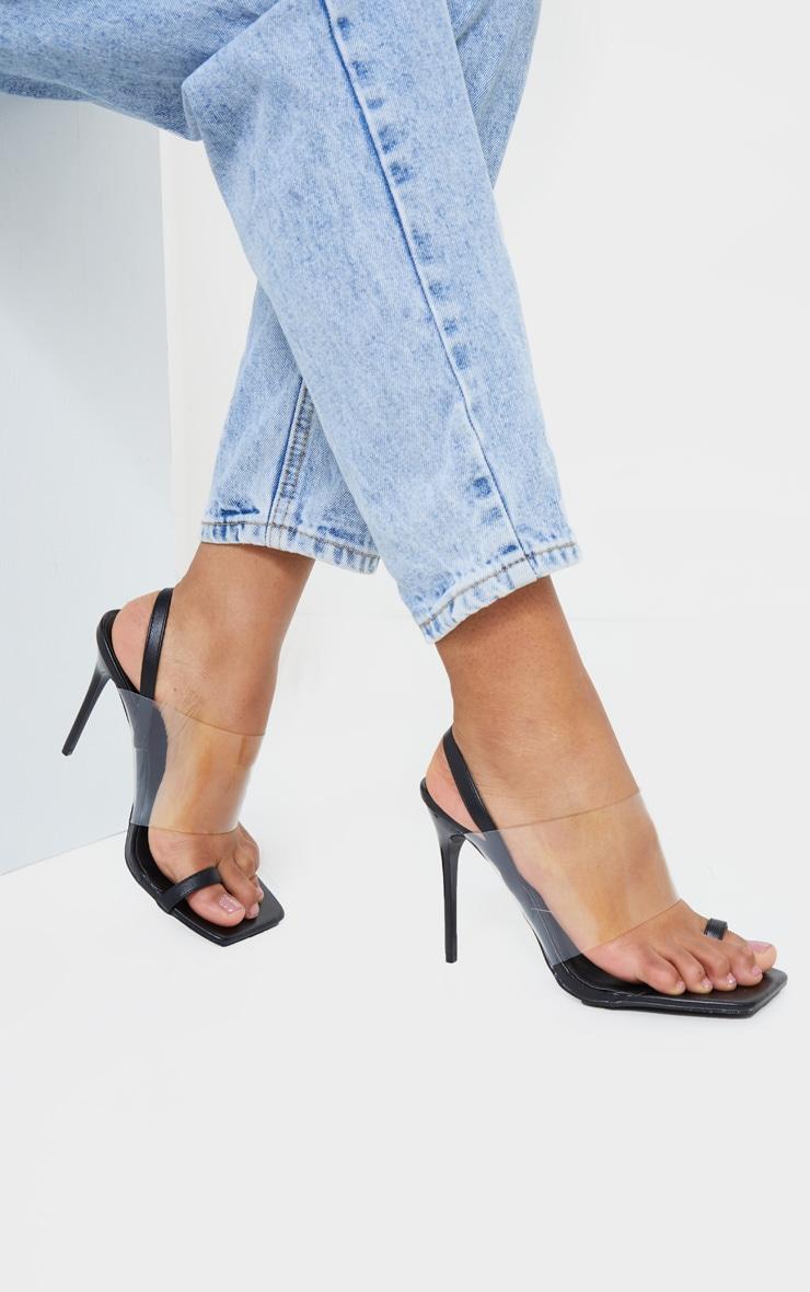 Sandales à bride transparente, lanière talon & boucle orteil noires 1