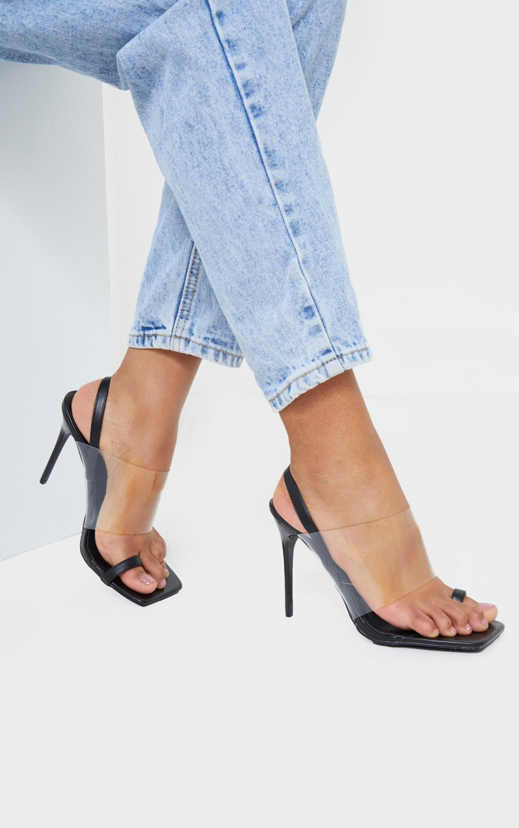 Black Clear Strap Toe Loop Sling Back High Heel Sandals 1