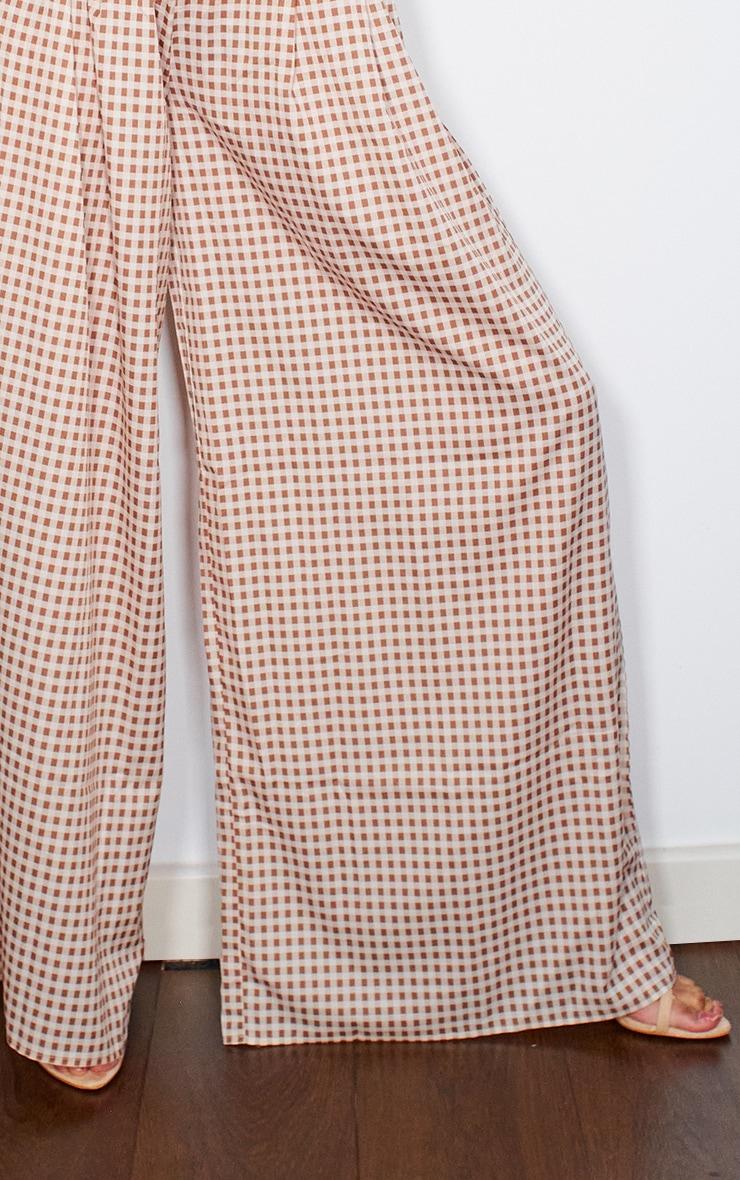 Taupe Gingham Sheer Print Wide Leg Pants 4