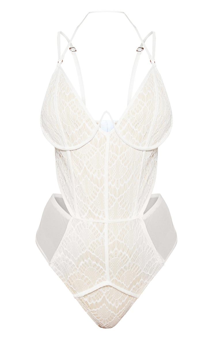 Cream Lace Mesh Wire Bodysuit 3