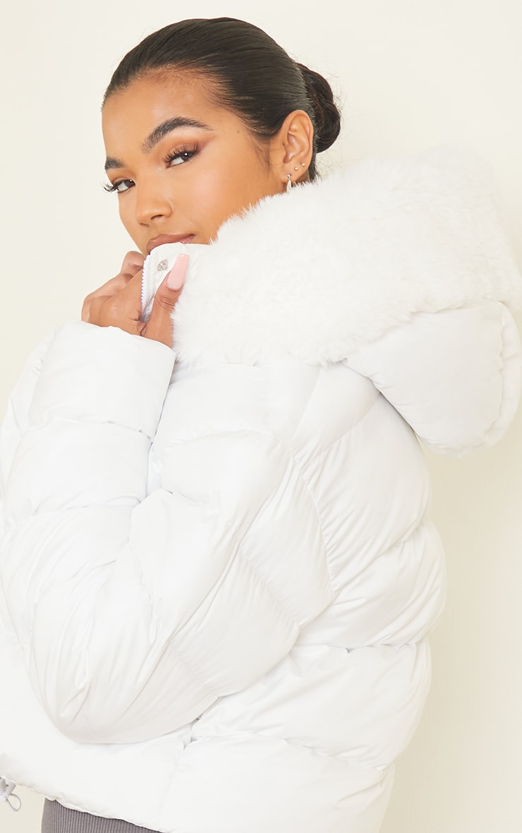 White Faux Fur Hooded Puffer Coat 4