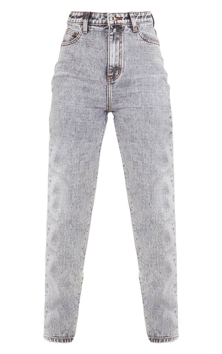 Tall  Grey With Contrast Stitch Long Leg Straight Jeans 5