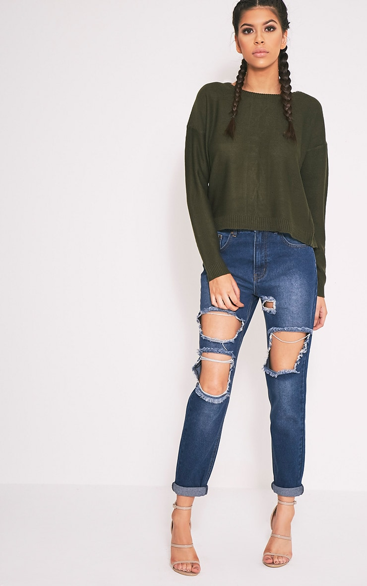 Alissa Khaki Lace Up Back Knitted Jumper 4