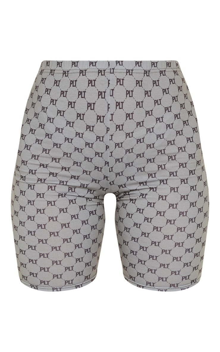 PRETTYLITTLETHING Grey Monogram Print Cycle Short 3