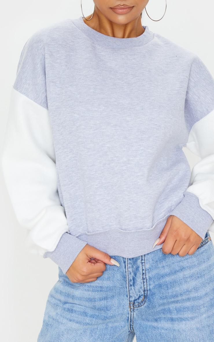 Grey Contrast Sleeve Oversized Sweater 5
