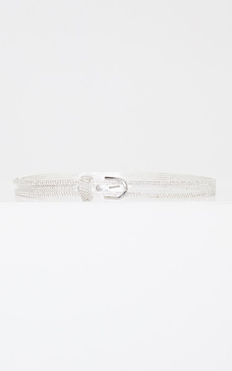 Clear PU Silver Studded Waist Belt 3