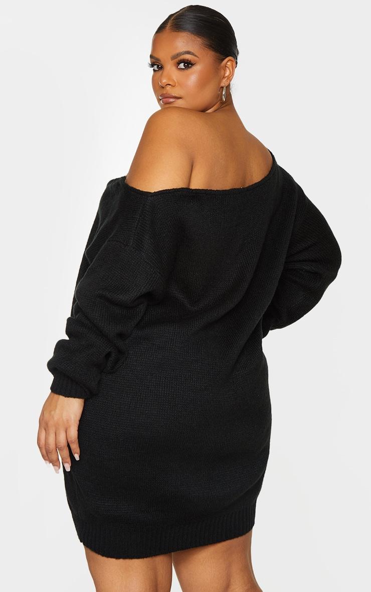 Plus Black Soft Knitted Off Shoulder Mini Dress 2