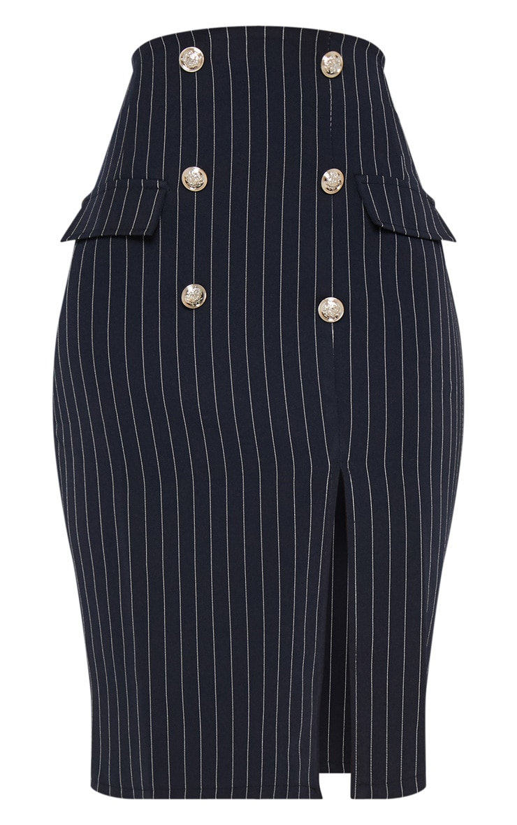 Navy Military Pinstripe Midi Skirt 3