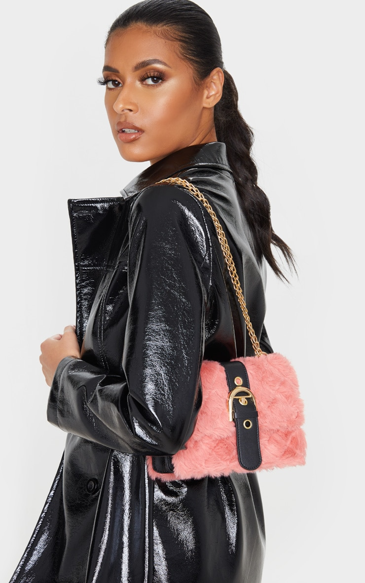 Dusty Rose Faux Fur Quilted Buckle Cross Body Bag 1