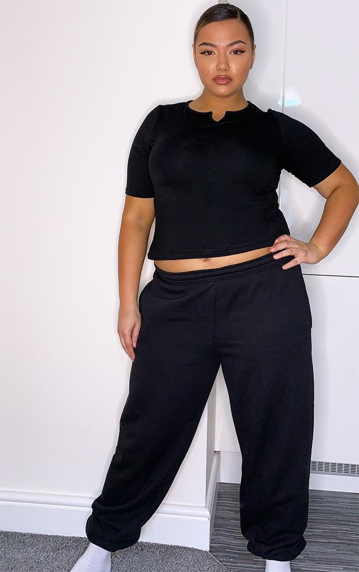 Plus Black Jersey V Neck Long Crop Top 3