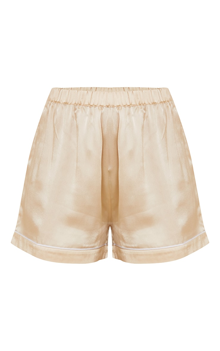 Champagne Mix And Match Piped Detail Satin PJ Shorts 6