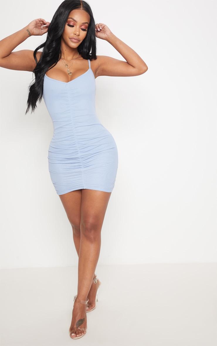 Shape Light Blue Mesh Ruched Tie Mini Dress 4