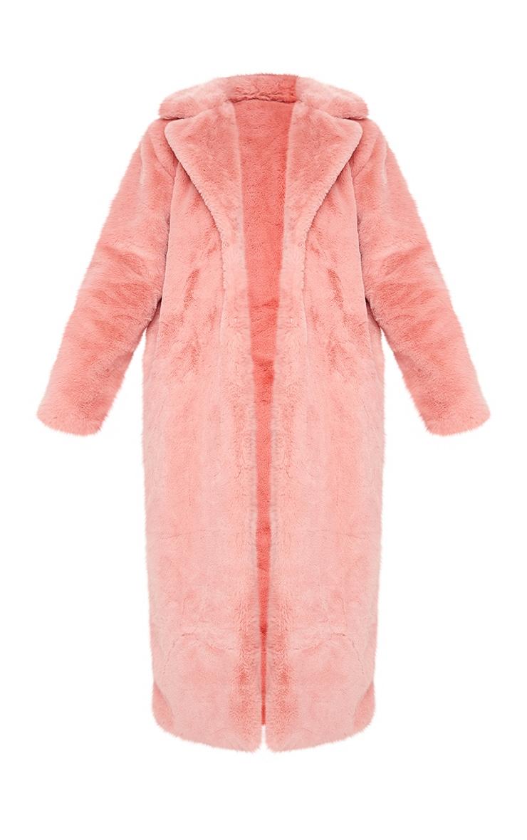Pink Maxi Faux Fur Coat 5