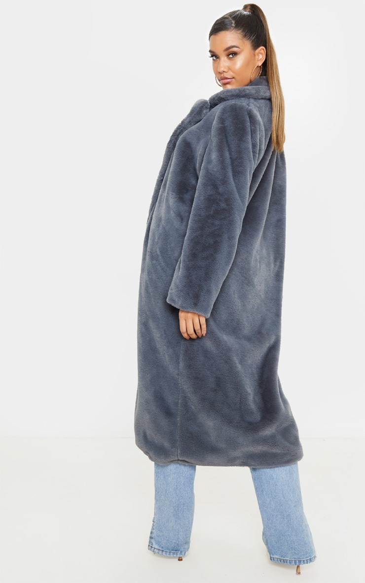 Charcoal Maxi Faux Fur Coat  2