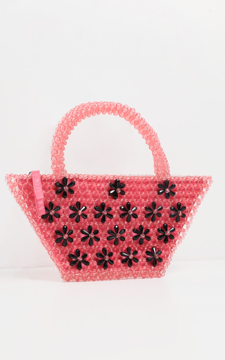 Pink Beaded Mini Bag With Black Flowers 2