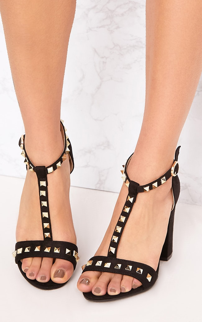 Marinda Black Studded Block Heels 1