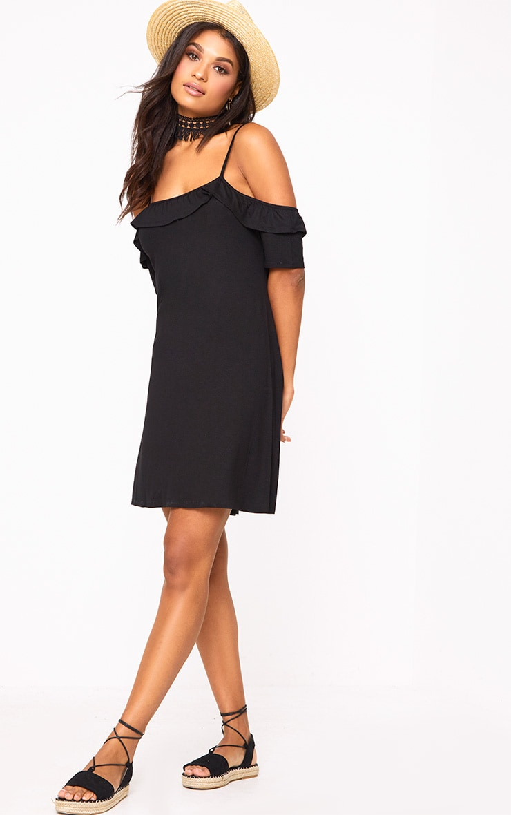 Black Cold Shoulder Shift Dress 1