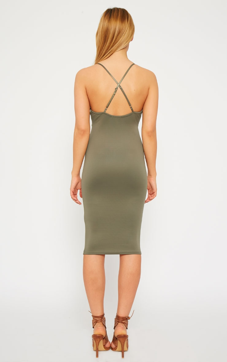Nada Khaki Plunge Cross Back Midi Dress 3
