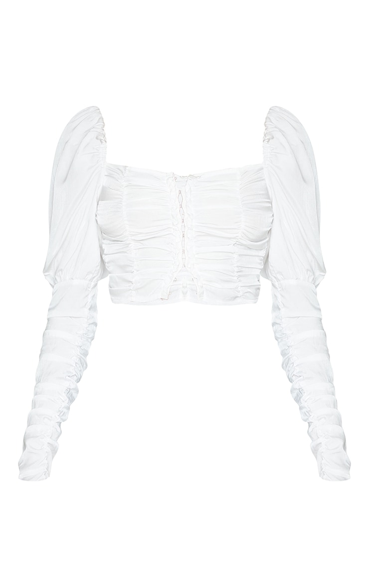 White Woven Multi Ruched Hook And Eye Puff Sleeve Crop Top 5