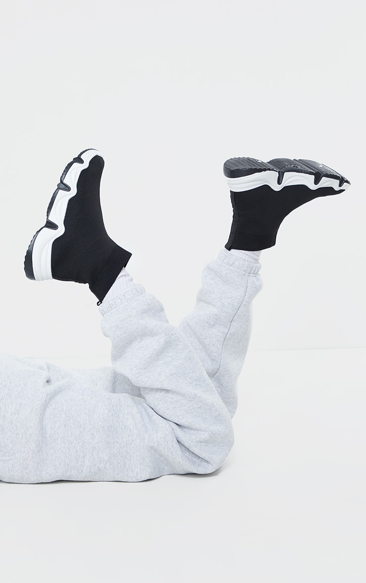 Black Woven Wave Sole Sock Trainers 2