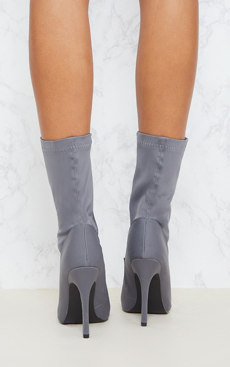 Grey Lycra Lace Up Sock Boot 4