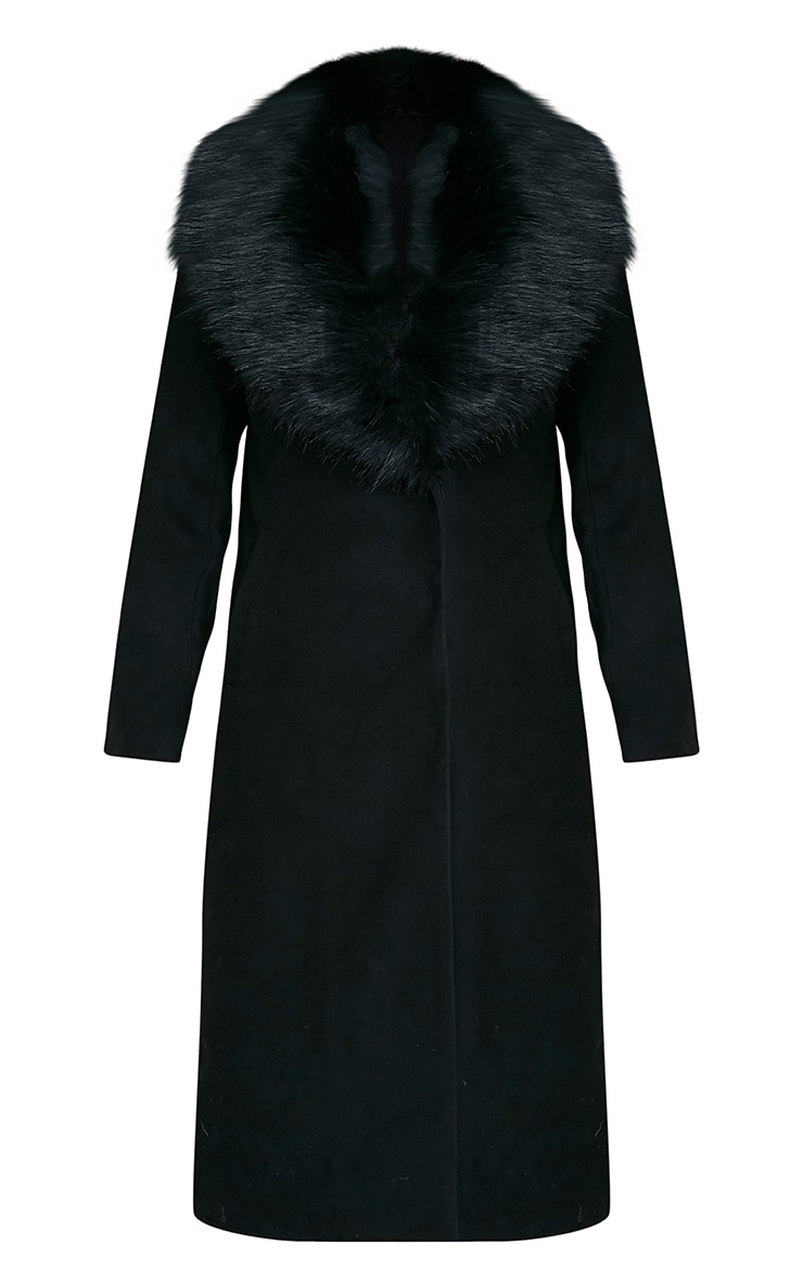 Black Faux Fur Collar Double Breasted Coat 3